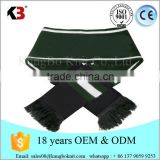 100 % Acrylic knitted pattern double layers reversible jacquard logo soccer football fans scarf with tassel