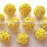 Fancy Big Hole 10mm Polymer Clay Base with ss8 Shining Rhinestone Shamballa Beads For Bracelet Lemon Yellow Color