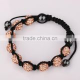 high quality rhinestone/crystal shamballa bracelet in bulk honey peach color