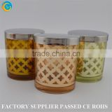 OEM laser enraving decotative silver gold votive glass candle jars with metals glass candle holders for candle making                                                                         Quality Choice