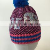 Hot sale new design knitting beanie hat bling bling sequins embroidered hats emoji smail pattern