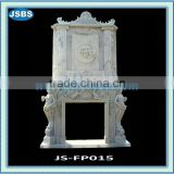white marble luxurious interior fireplace mantel