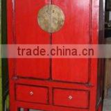 chinese antique red wooden two door two drawer wedding cabinet