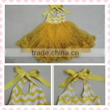 Hot sale! chevron pattern baby girls fashion zig zag yellow chevron dress