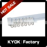 KYOK strong capacity sliding aluminum rail, good quality curtain rail runner/end caps, metal curtain track brackets