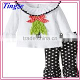Hot selling new design funny comfortable cotton child clothes set christmas baby clothes TR-CA41