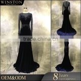 High end china factory direct wholesale long sleeve high neck mother of the bride dresses