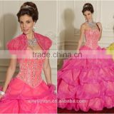 New Designer Gorgeous Luxury red yellow Organza Ruffled elegant quinceanera dresses with Jacket MLQ-286