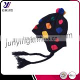 Lady fashion wool felt knit beanie cover ear hat with pom pom wholesale china (Accept the design draft)