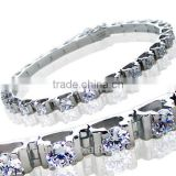 custom made synthetic diamond setting gold plated 925 sterling silver bracelets for women