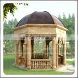 Outdoor Marble Stone Garden Gazebo With Metal Roof                                                                         Quality Choice