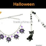 Fashion metal Halloween spider and black cat pendant necklace jewelry set ,Customized Colors or LOGO and OEM design accept