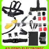 for GoPro HERO4 /3+ 22 in 1 Chest Belt + Remote Wrist Belt + Head Strap + Helmet Strap + Carry Bag + Handheld Monopod Mount Set