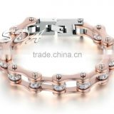 2016 New Hot Sale Bicycle Motorcycle Chain Jewelry Rose Gold Plated 316L Stainless Steel Bracelet