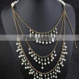 Latest High-end Gold Muti-layer Tassels Paerls Bead Necklace Body Jewelry Sex Body Chain