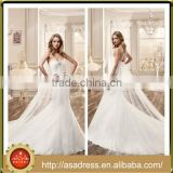 VDN49 Sweetheart Neckline Bridal Wedding Party Gown 2016 Full Length Long Train Mermaid Appliqued Lace Wedding Dresses Crystals