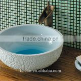 Handpainted ceramic art basin colorful countertop round sink porcelain flower edge bowl vanity top GD-F30