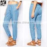 Ladies spring/summer washed light weight denim/chambray jogger pants/trousers SYA15034
