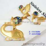 animal fish shape natural shell stainless steel 2 gram gold plated jewellery sets