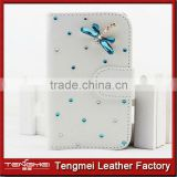Custom PU leather wallet case for sony xperia m2,diamond dragonfly PU cover for sony xperia