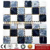 IMARK Honed White & Gray Color Black Marquina Marble Mosaic Tile Backsplash Tile Code IVM7-023
