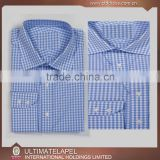 Fashion blue small checks bespoke shirt for men 2016