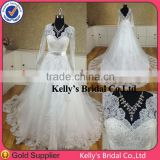 New Model backless long sleeve lace wedding dresses 2014
