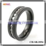 black stainless steel mens diamond rings for wedding