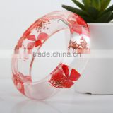 High Transparent Beautiful Pressed Dried Real Flower Clear Resin Bracelets Bangle for Women