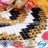 HF JY-P-B01 fashion and hot sale waterproof acid proof gold color glass mosaic tile black and white tiles kitchen tile wallpaper