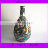 Home Decor Fancy Thin Neck Unique Stained Mirrored Mosaic Flower Arrangement Glass Vases