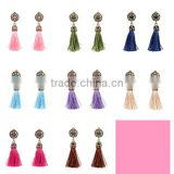 Bohemian jewelry rhinestone gems with alloy plated tassel dangle earrings