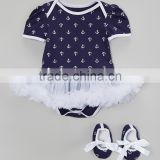 New Navy Baby Girls Bodysuit Fancy Shirt Bodysuit Baby Tutu And Shoes 2pcs Set Casual Newborn Baby Girl Clothing CS90425-22