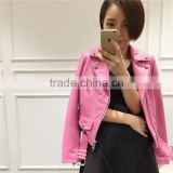 real leather jacket for girls sheep leather motocycle cool fashion