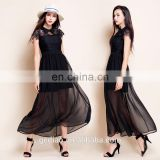 high quality lace chiffon spliced dress soft gentle ladies long gown black night dress for women