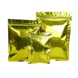 8-12 oz Shinny Gold Laminated Metallic Aluminum Foil Moisture Proof Flat Pouch with Zipper for Snack Food Packaging Bag