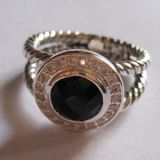 Silver Jewelry 8mm Black Onyx Petite Albion Ring(R-025)