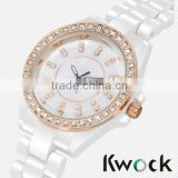 Top Quality Women Dress white Ceramic Watches Elegant Ladies Brecelet Watch sapphire crystal ceramic watch