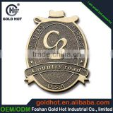 Manufacture design antique copper finish metal emblems brands logo names