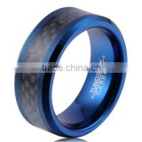Men's Tungsten Carbide Rings Wedding Band Blue Plated Black Carbon Fiber Inlay and Beveled Edges