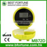 MB72D_YW LCD display Yellow color Alarm Colorful Digital alarm metal pill box