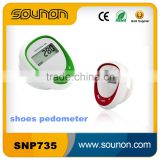 Splash proof Step counter Walking pedometer High Quality lcd display sport shoe pedometer