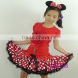 Red flower girl pettiskirt set polka dot bloom kids outfits mickey spot child tutus suit