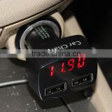 USB car charger digital thermometer protable car volt meter
