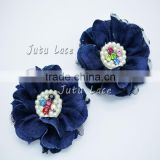 2 pcs denim lace flower- pearl lace flower- pearl and rhinestone denim lace flower