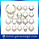 Beautiful Sparkling Different Color nose ring clip on with non piercing