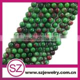 Wholesale 10mm cutting green and red jade loose gemstones beads jewelry