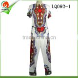 Fashion design african stretch fabric clothes shirts match pants soft women and men suit in white color