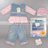 2015 sping baby gift set suit mesh and Denim Fabric( winnie authorized production)