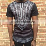 2016 Guangzhou dashiki manufacturer mens tall tee extra long side zip t shirt